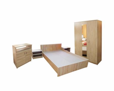 Mobilier dormitor Soft Sonoma cu dulap 3 usi si pat de la Sembazuru Art Srl