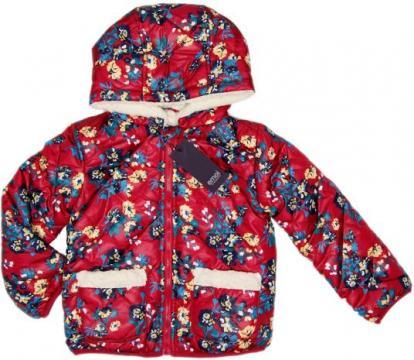 Geaca iarna imblanita fete, gluga, Emoi, rosu cu floricele de la A&P Collections Online Srl-d
