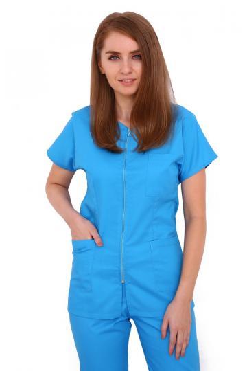 Halat medical turquoise cu fermoar cambrata cu doua buzunare de la Doctor In Uniforma SRL