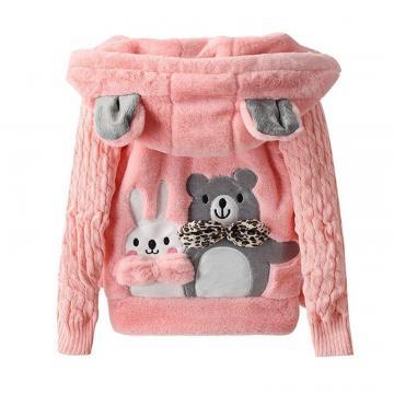 Jacheta iarna blanita, Ursulet, fete, roz de la A&P Collections Online Srl-d