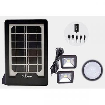 Kit panou solar cu slot USB GSM si 2 becuri lanterna LED