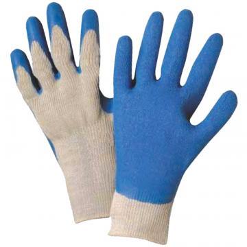 Manusi aderente bumbac - latex palma si degete, albastre