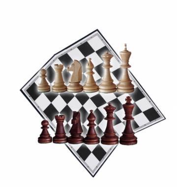Piese sah lemn Staunton 6 in punga de plastic, tabla carton de la Chess Events Srl
