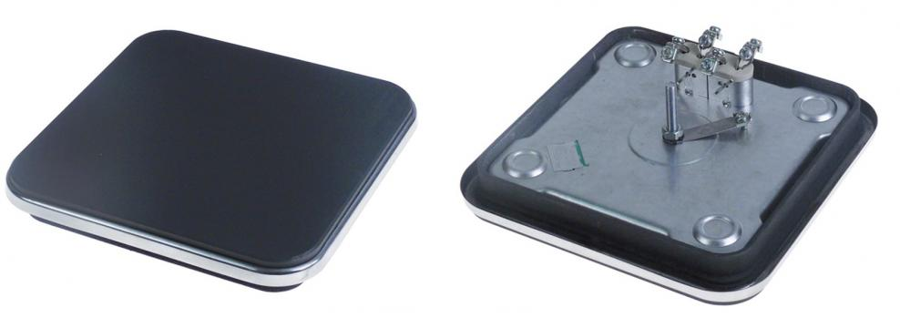 Plita electrica patrata, inel exterior inox 220x220mm