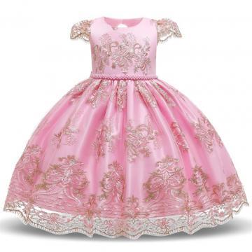 Rochita eleganta Ava, voal si dantela, roz cu auriu de la A&P Collections Online Srl-d