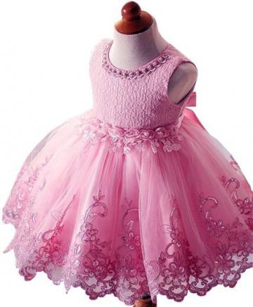 Rochita eleganta printesa, voal, roz cu broderie si paiete de la A&P Collections Online Srl-d