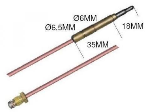Termocupla L=1000 mm, filet M9x1
