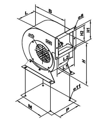 Ventilator centrifugal VCUN 180x 74-55-4 de la Ventdepot Srl