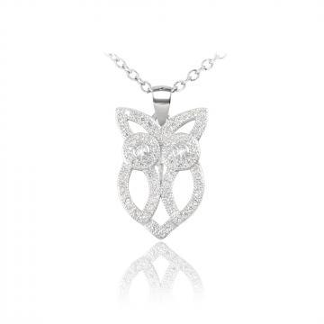 Colier din argint cu cristale Brilliant Owl