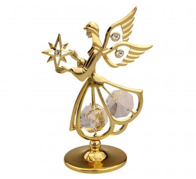 Decoratiune Ingeras auriu cu cristale Swarovski albe
