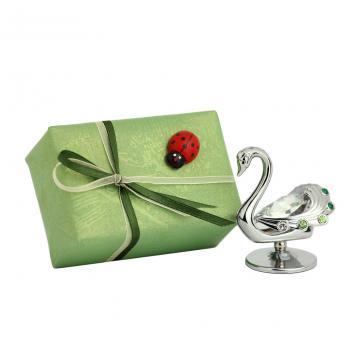 Figurina Lebada cu cristale Swarovski albe si ambalaj cadou
