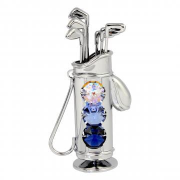 Figurina metalica Sac de golf decorat cu cristale Swarovski