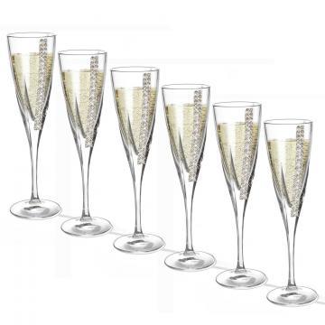 Set de 6 pahare de sampanie cu cristale Chinelli