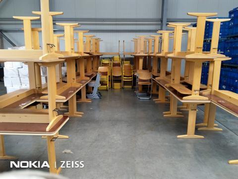 Banca scolara VS - cadru metallic / lemn - tablet din lemn