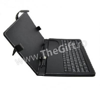 Husa USB din piele, cu tastatura pentru tableta 10.1 inch