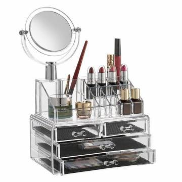 Organizator cosmetice din acril cu 4 sertare si oglinda