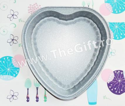 Tava de copt marmorata, in forma de inima