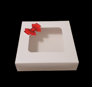 Cutie alba carton cu fereastra si fundita rosie 19x19x6,5cm de la Cristian Food Industry Srl.