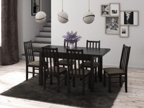 Set masa living Max5 W cu 6 scaune Boss10 W2, wenge de la CB Furniture Srl