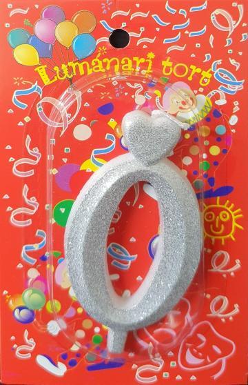 Lumanari tort argintii cifra 0 20 buc/cutie de la Cristian Food Industry Srl.