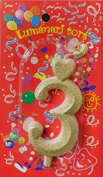 Lumanari tort aurii cifra 3 20 buc/cutie de la Cristian Food Industry Srl.
