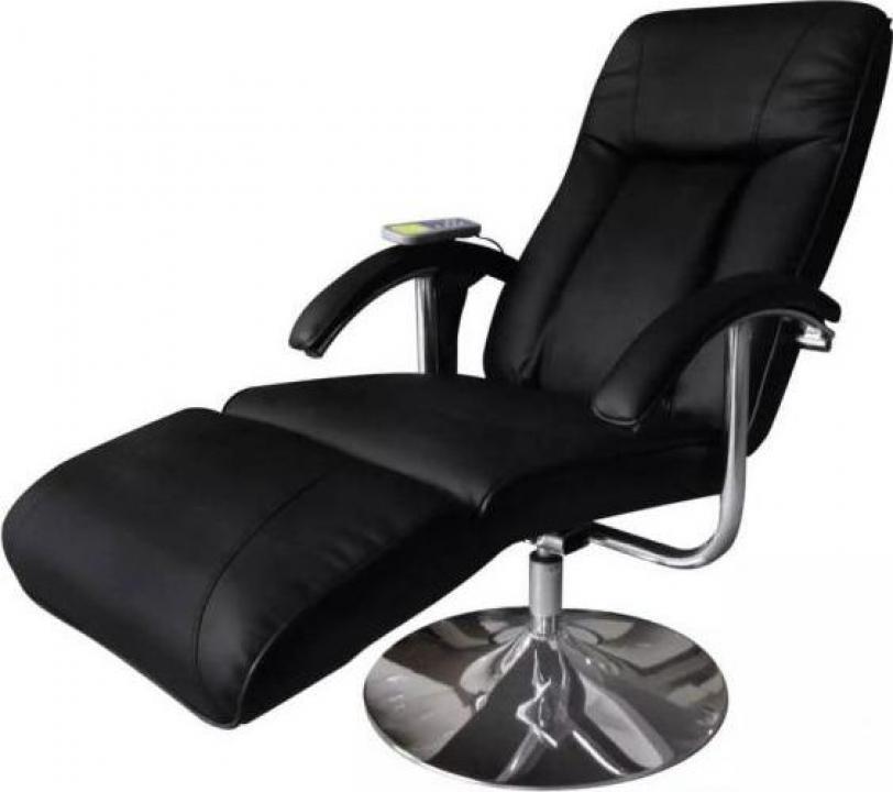 Fotoliu electric pentru masaj rabatabil Negru