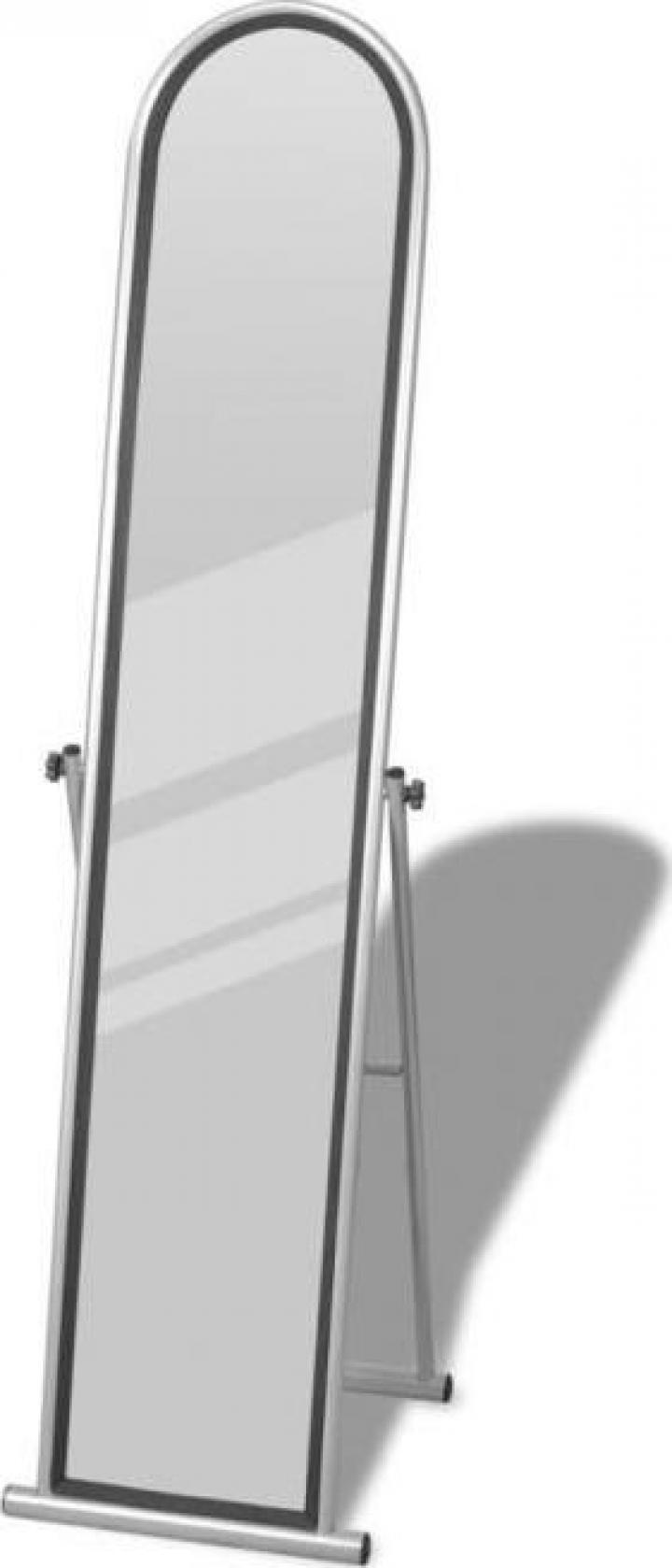 Oglinda de podea cu suport rectangulara gri