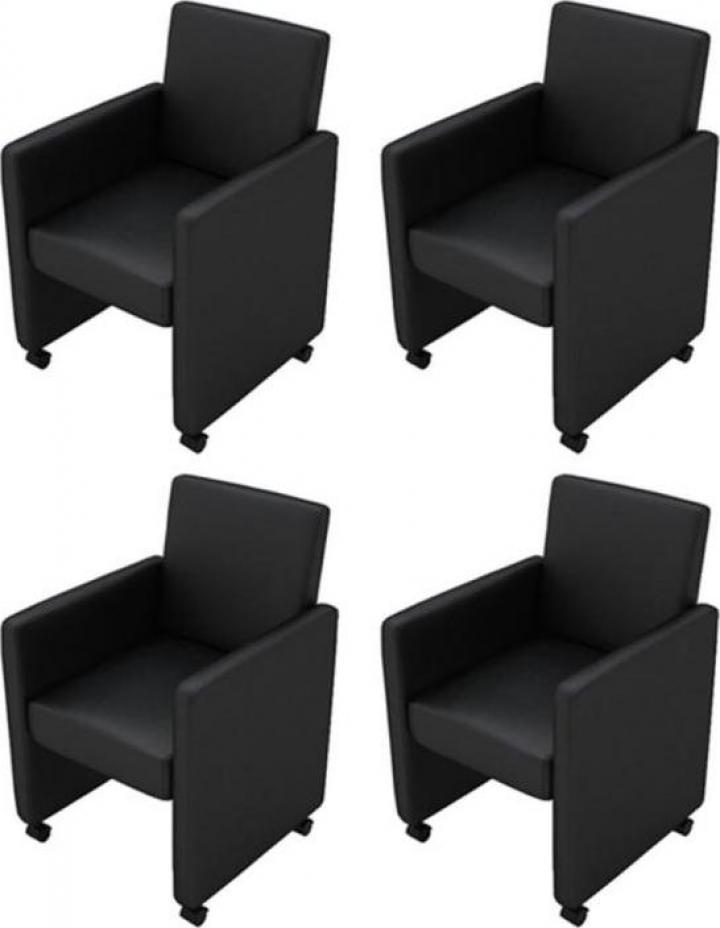 Set 4 scaune birou din piele artificiala negru
