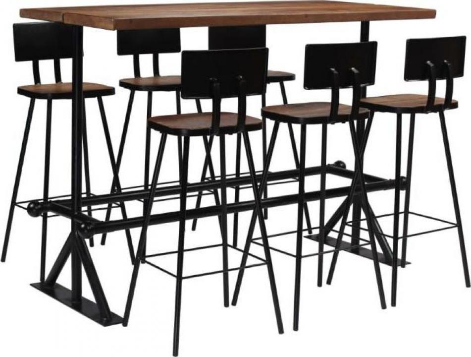 Set de bar, 7 piese, lemn masiv reciclat
