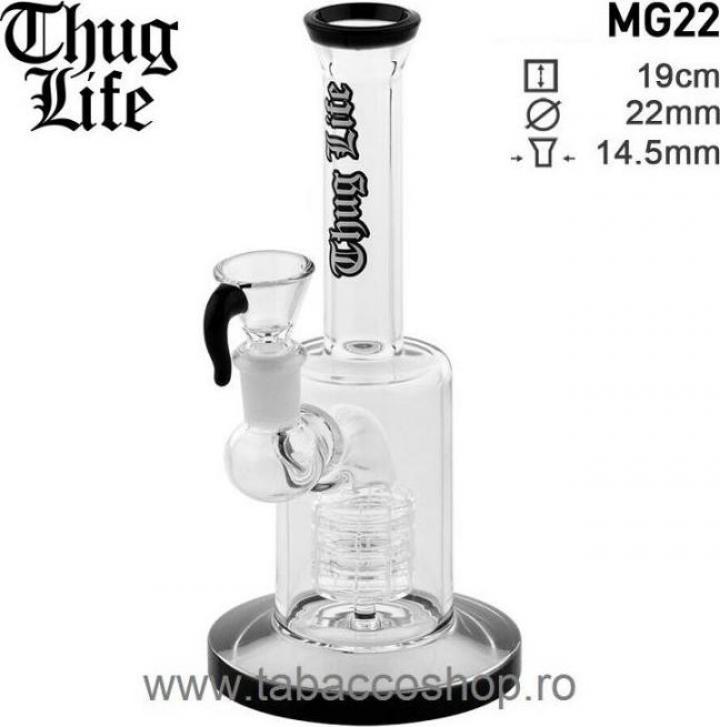 Bong din sticla Thug Life Showerhead Perculator 19cm