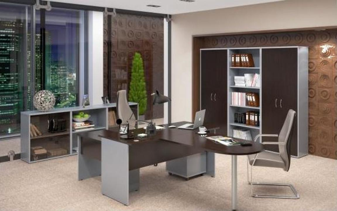 Set mobilier birou executiv Imago wenge/gri metalic