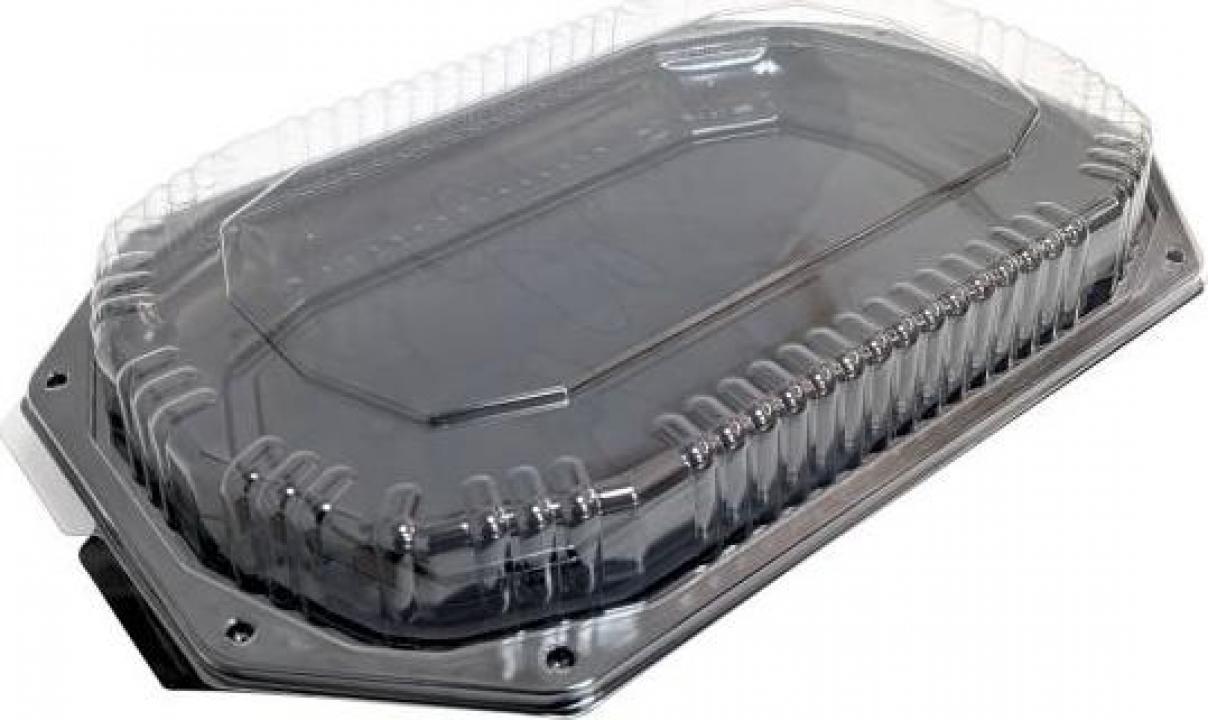 Platou negru din plastic cu capac transparent