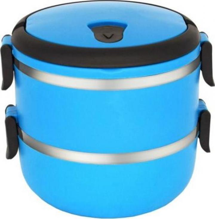 Caserola termica dubla, 2x0.7litri, albastra, Heinner