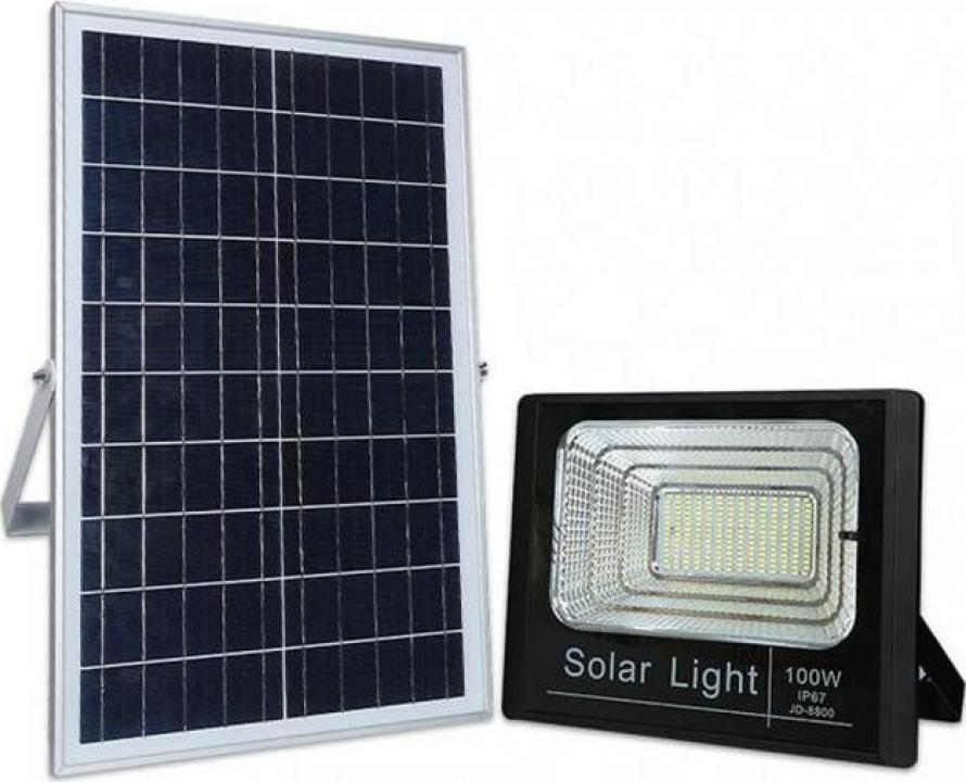 Panou solar cu proiector 100W, cu telecomanda