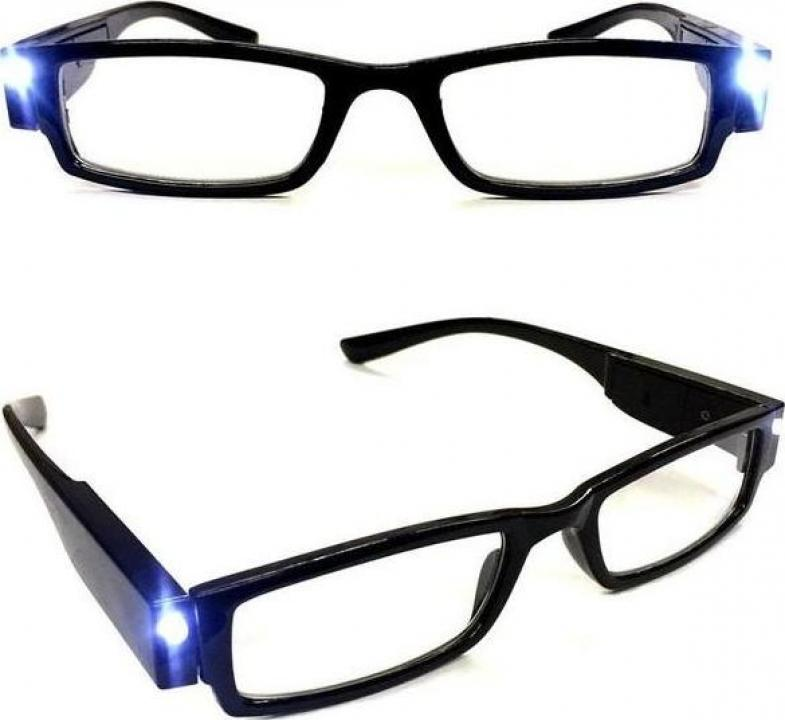 Ochelari pentru citit dotati cu 2 LED-uri si dioptrii +2.00