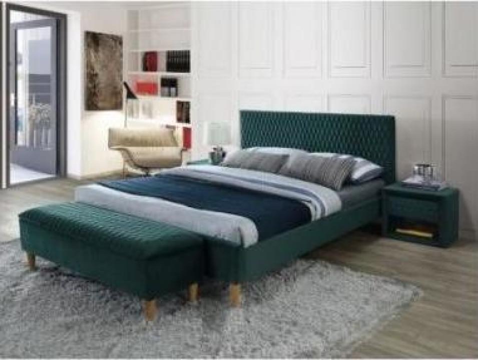 Pat dormitor Azurro Velvet 160x200 verde Bluvel 78