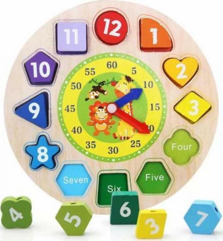 Joc educativ copii ceas din lemn forme geometrice si cifre